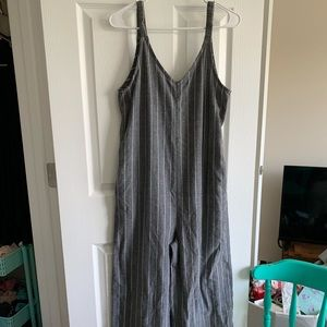 grey and white striped jumpsuit